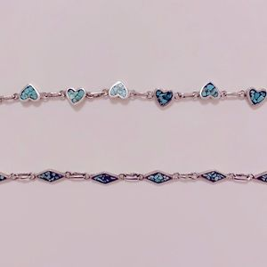 Vintage Silver Turquoise Heart/Diamond Bracelets
